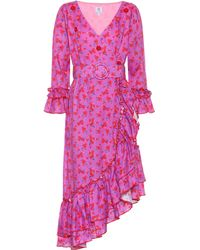 Gül Hürgel Floral-printed Linen Dress - Purple