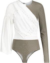 Marine Serre Jersey And Cotton-poplin Bodysuit - Multicolour