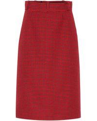 Balenciaga Falda de lana virgen pata de gallo - Rojo