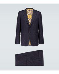 Gucci Bestickter Anzug aus Wolle - Blau