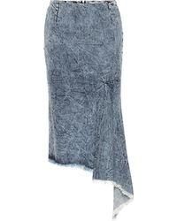 Balenciaga Asymmetric Denim Midi Skirt - Blue