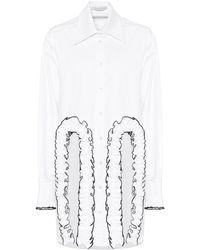 Christopher Kane Frilled Cotton Poplin Shirt - White