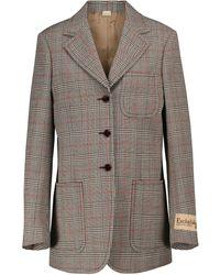 Gucci Checked Wool Blazer - Gray
