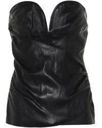 Unravel Project Leather Bustier - Black