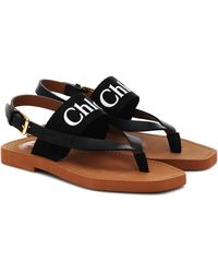 Chloé Woody Logo Strap Sandals - Black