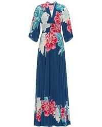 Etro Abito lungo a stampa floreale in seta - Blu