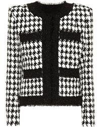 Balmain Houndstooth Cotton-blend Tweed Jacket - Black