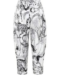 Stella McCartney Pantalones Rosalinda de seda - Gris