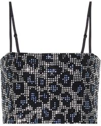 Adam Selman Sport Cropped Crystal-embellished Stretch-knit Top - Blue