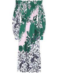 Erdem Robe Brigida imprimée en coton à encolure bardot - Vert