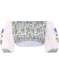 Juliet Dunn Cropped Top aus Baumwolle - Blau