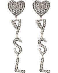 Saint Laurent Crystal-embellished Earrings - Metallic