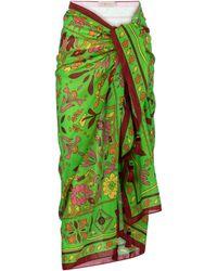 Tory Burch Printed Cotton And Silk Sarong - Green