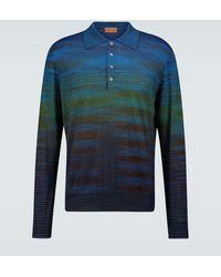 Missoni Striped Long-sleeved Polo Shirt - Blue