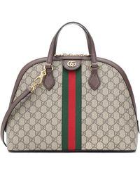 Gucci Borsa Ophidia GG Medium in tessuto e pelle - Marrone