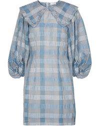 Ganni - Checked Cotton-blend Minidress - Lyst