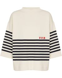 Victoria, Victoria Beckham Striped Cotton Jumper - White
