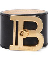 Balmain Bracelet manchette B-Twist en cuir - Noir