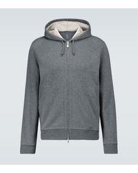 Brunello Cucinelli Zipped Hooded Sweatshirt - Grey