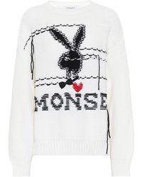 Monse X Playboy – Pull en laine mérinos - Blanc