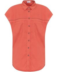 Brunello Cucinelli Exclusivo en Mytheresa - camisa de algodón - Naranja