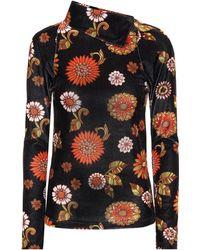 Dodo Bar Or Floral Velour Turtleneck Top - Red