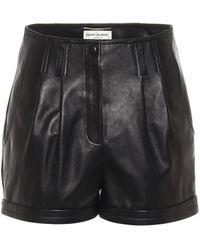 Saint Laurent Shorts de piel de tiro alto - Negro