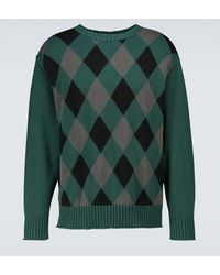 Undercover Jacquard Knitted Sweater - Green