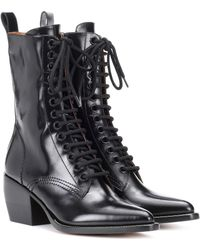 Chloé Lace-up Leather Boots - Black