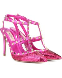 Valentino - Garavani Rockstud Sequinned Leather Court Shoes - Lyst