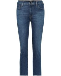 J Brand Ruby Cropped High-rise Jeans - Blue