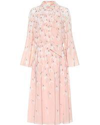 Valentino Floral Silk Midi Dress - Pink