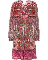 Camilla Vestido corto de seda estampado - Rojo