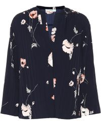 Vince Tossed Poppy 3/4-sleeve Pleated Blouse - Blue