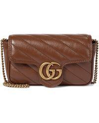 Gucci Sac GG Marmont Super Mini en cuir - Marron