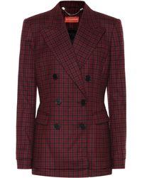 Altuzarra Ria Checked Stretch-wool Blazer - Red