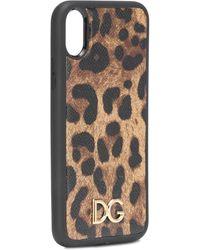 Dolce & Gabbana Cover Iphone Xr In Vitello Dauphine Stampa Leo - Multicolore