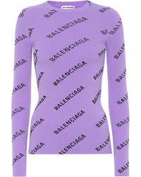 Balenciaga Bedruckter Pullover - Lila