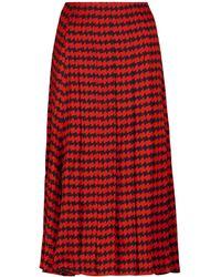 Victoria Beckham Houndstooth Pleated Midi Skirt - Red