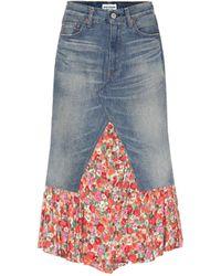 Junya Watanabe Floral Crêpe-trimmed Denim Skirt - Blue