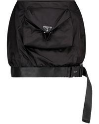 Prada - Minifalda de nylon de tiro alto - Lyst