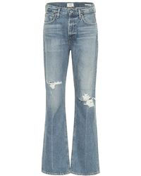 Citizens of Humanity Jeans flared Libby a vita alta distressed - Blu