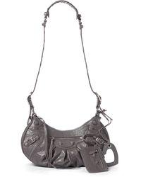Balenciaga Schultertasche Le Cagole Small aus Leder - Grau