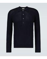 Cmmn Swdn Curtis Crochet Knitted Polo Shirt - Blue
