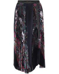 Sacai Sun Surf/diamond Head Pleated Midi Skirt - Black