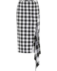 Monse - Asymmetric Gingham Wool And Cotton-blend Midi Skirt - Lyst