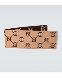Gucci Foulard en laine brun Jacquard GG - Marron