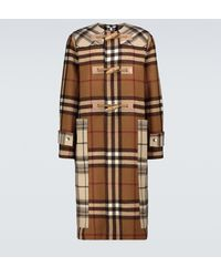 Burberry Contrast Checked Duffel Coat - Brown