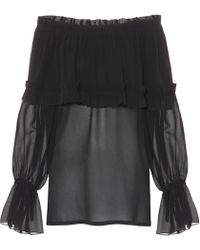 Saint Laurent Silk Georgette Blouse - Black