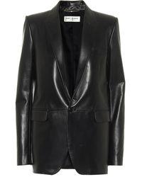 Saint Laurent Blazer en cuir - Noir